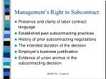 management s right to subcontract