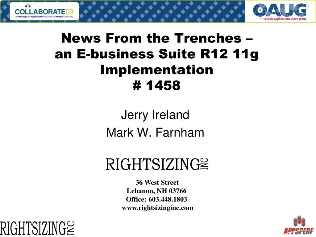 news from the trenches an e business suite r12 11g implementation 1458 l.