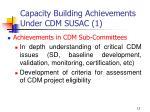 capacity building achievements under cdm susac 1