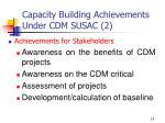 capacity building achievements under cdm susac 2