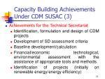 capacity building achievements under cdm susac 3