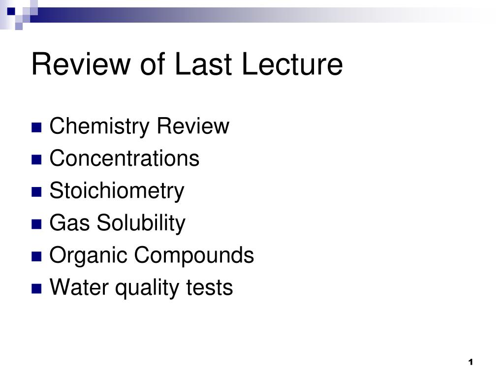 review of last lecture l.