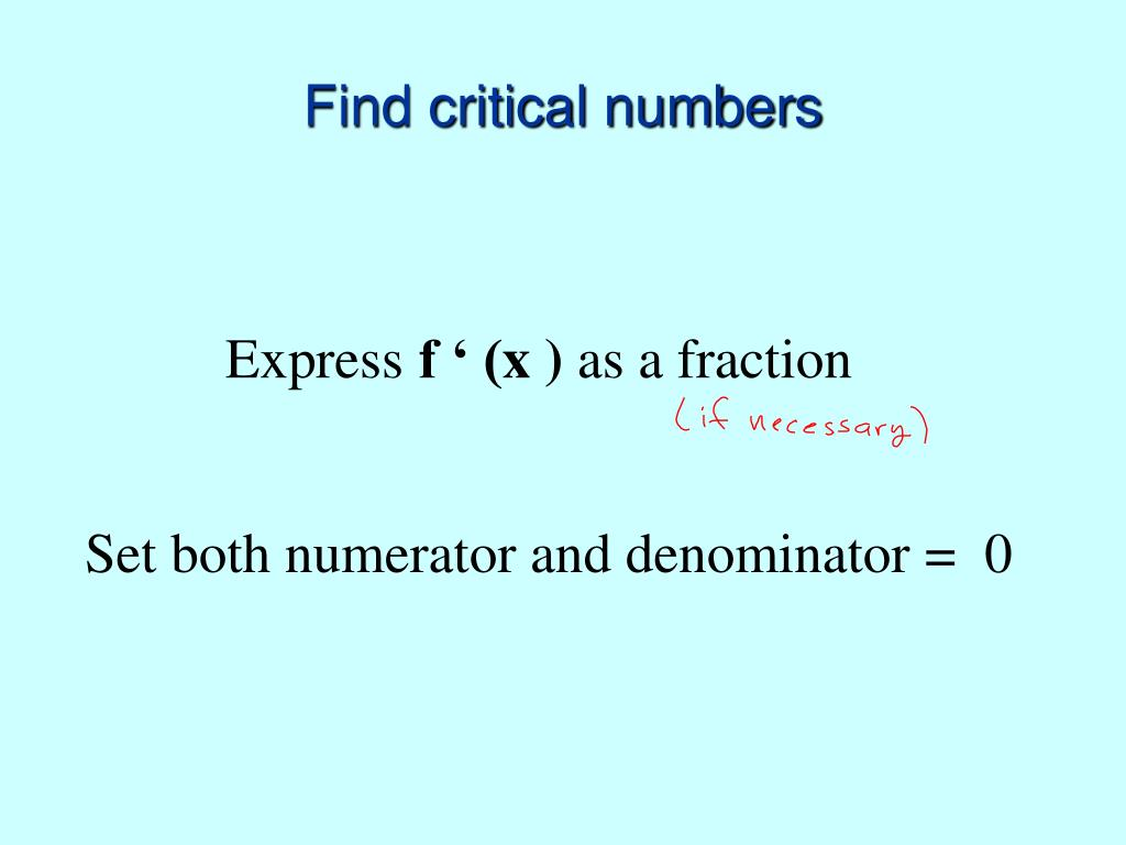 Find critical numbers
