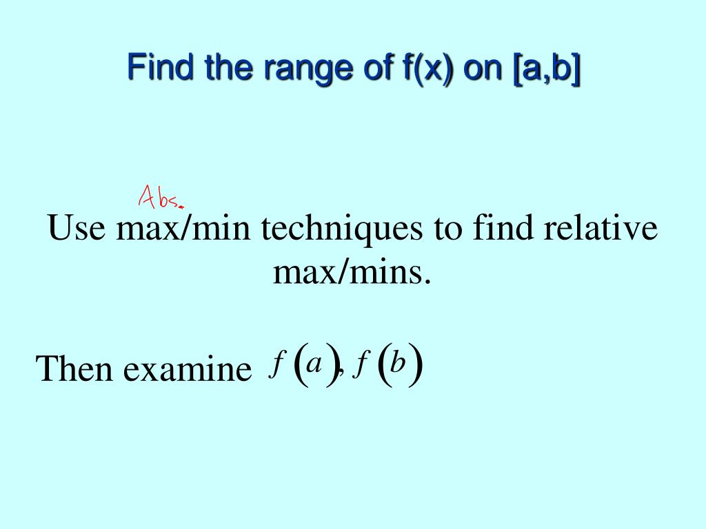 Find the range of f(x) on [a,b]