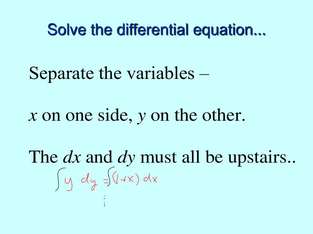 Solve the differential equation...