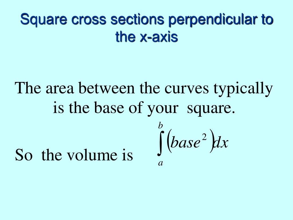 Square cross sections perpendicular to the x-axis