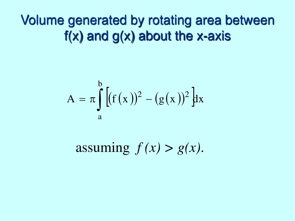Volume generated by rotating area between f(x) and g(x) about the x-axis