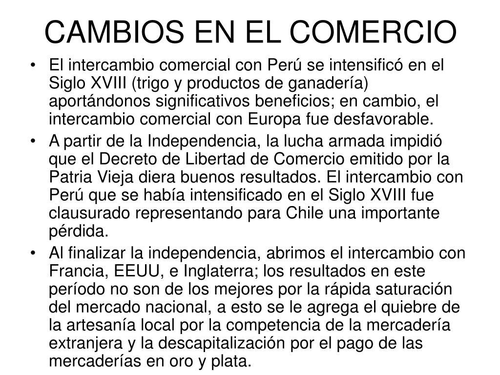 CAMBIOS EN EL COMERCIO