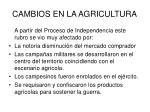 cambios en la agricultura
