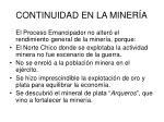 continuidad en la miner a