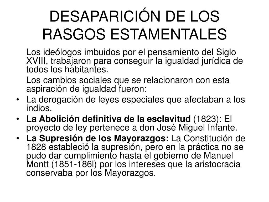DESAPARICIÓN DE LOS RASGOS ESTAMENTALES