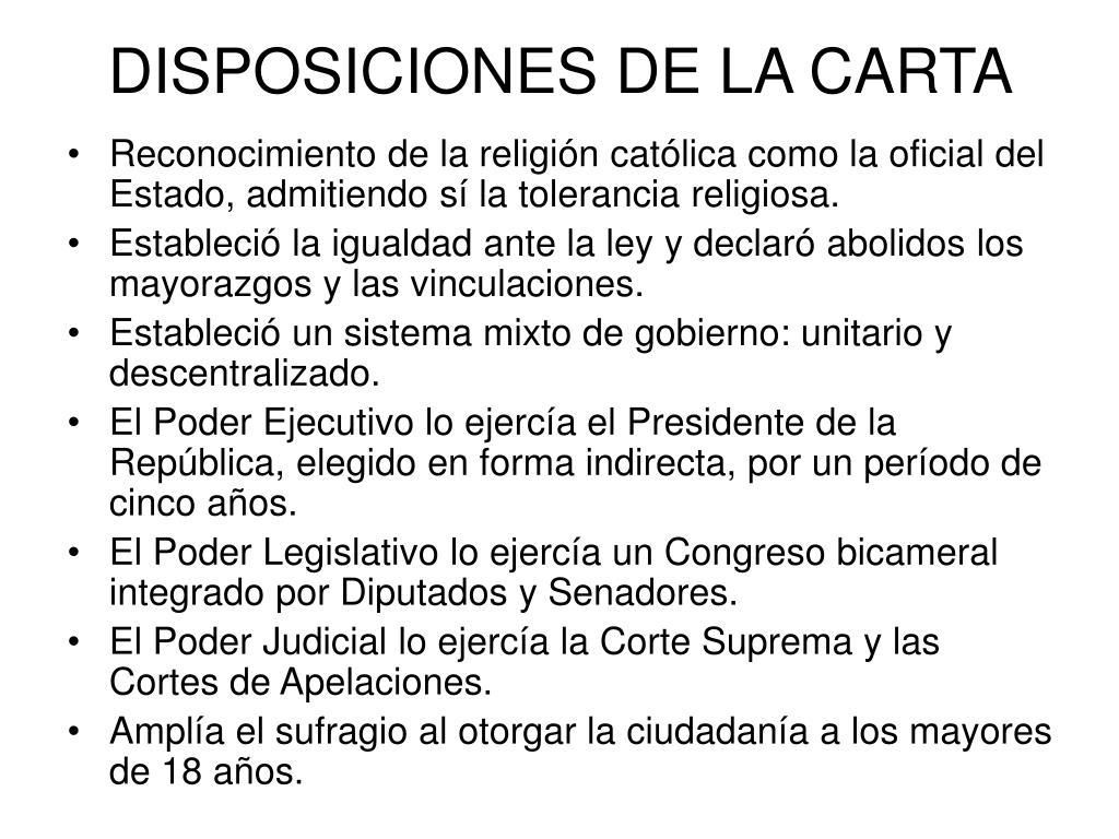 DISPOSICIONES DE LA CARTA