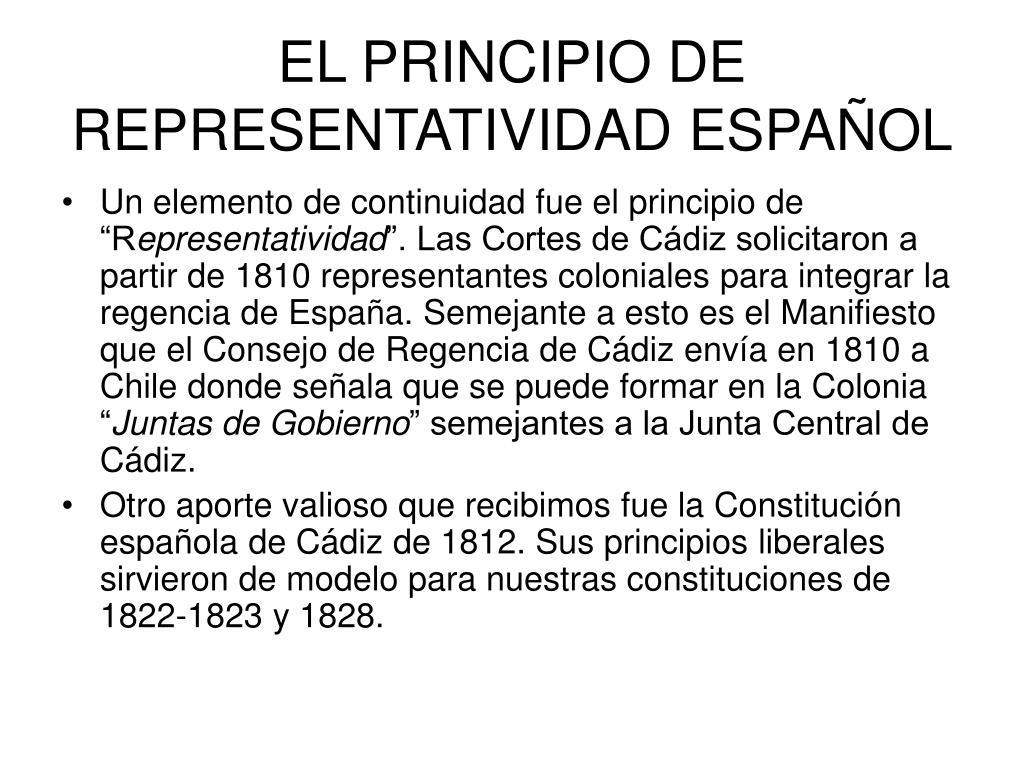 EL PRINCIPIO DE REPRESENTATIVIDAD ESPAÑOL