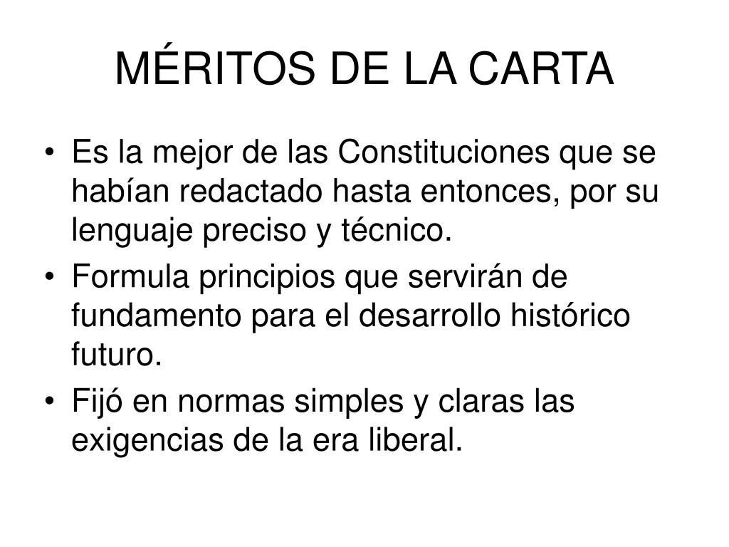 MÉRITOS DE LA CARTA