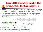 can lhc directly probe the primordial lepton asym