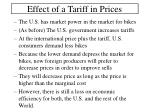 effect of a tariff in prices