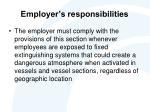 employer s responsibilities