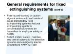 general requirements for fixed extinguishing systems cont d