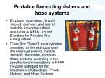 portable fire extinguishers and hose systems