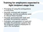 training for employees expected to fight incipient stage fires
