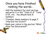 once you have finished ranking the words
