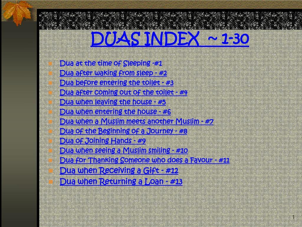 duas index 1 30 l.
