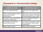 connected vs unconnected lookups