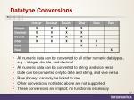 datatype conversions