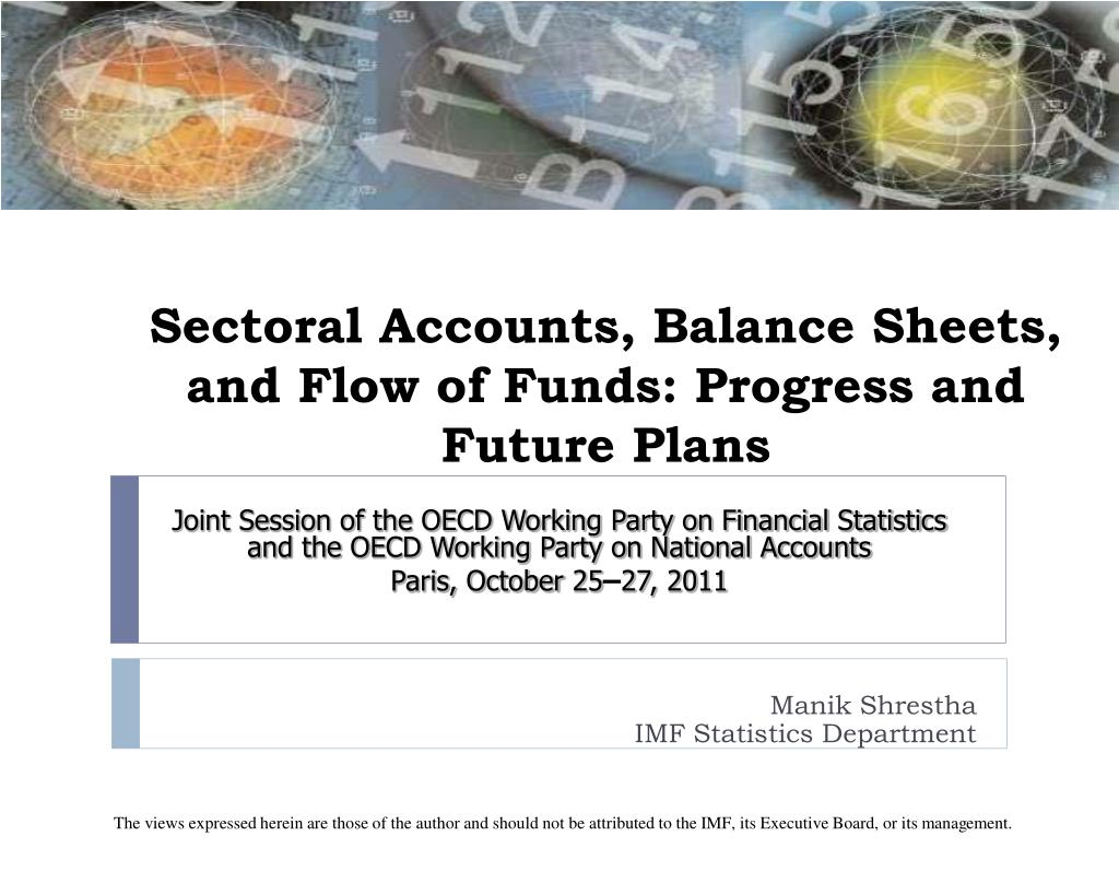sectoral accounts balance sheets and flow of funds progress and future plans l.