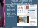 product corporate and government information