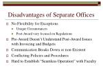 disadvantages of separate offices