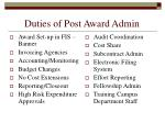 duties of post award admin