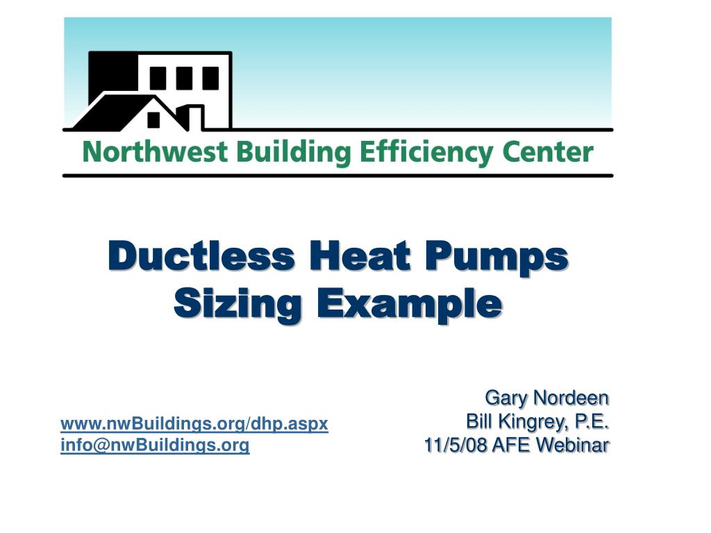 ductless heat pumps sizing example l.