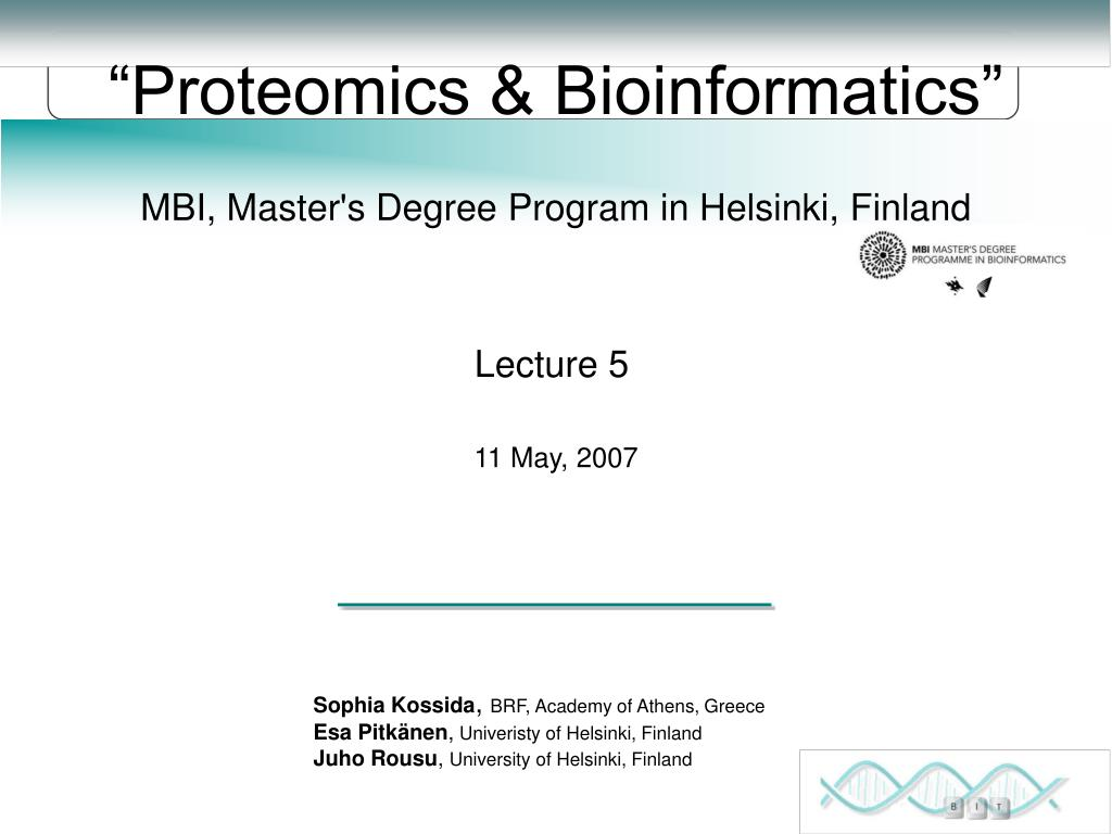 proteomics bioinformatics l.