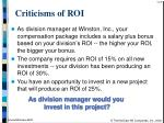 criticisms of roi37