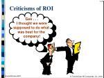 criticisms of roi39