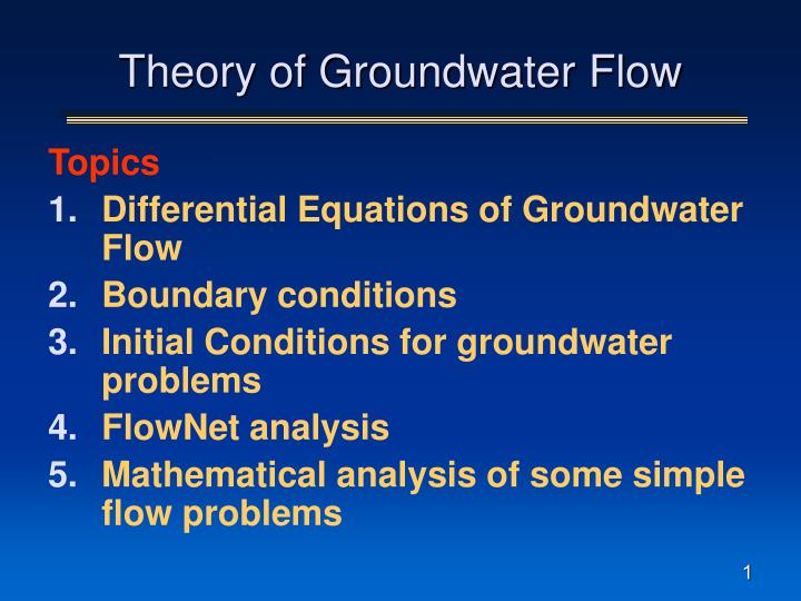 theory of groundwater flow n.