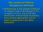 key lemma on relative acceptance likelihood