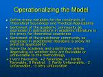 operationalizing the model