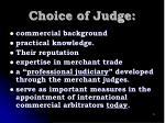 choice of judge