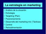 la estrategia en marketing