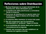 reflexiones sobre distribuci n