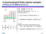 a structured grid finite volume example setting up the matrix bc s