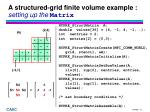 a structured grid finite volume example setting up the matrix