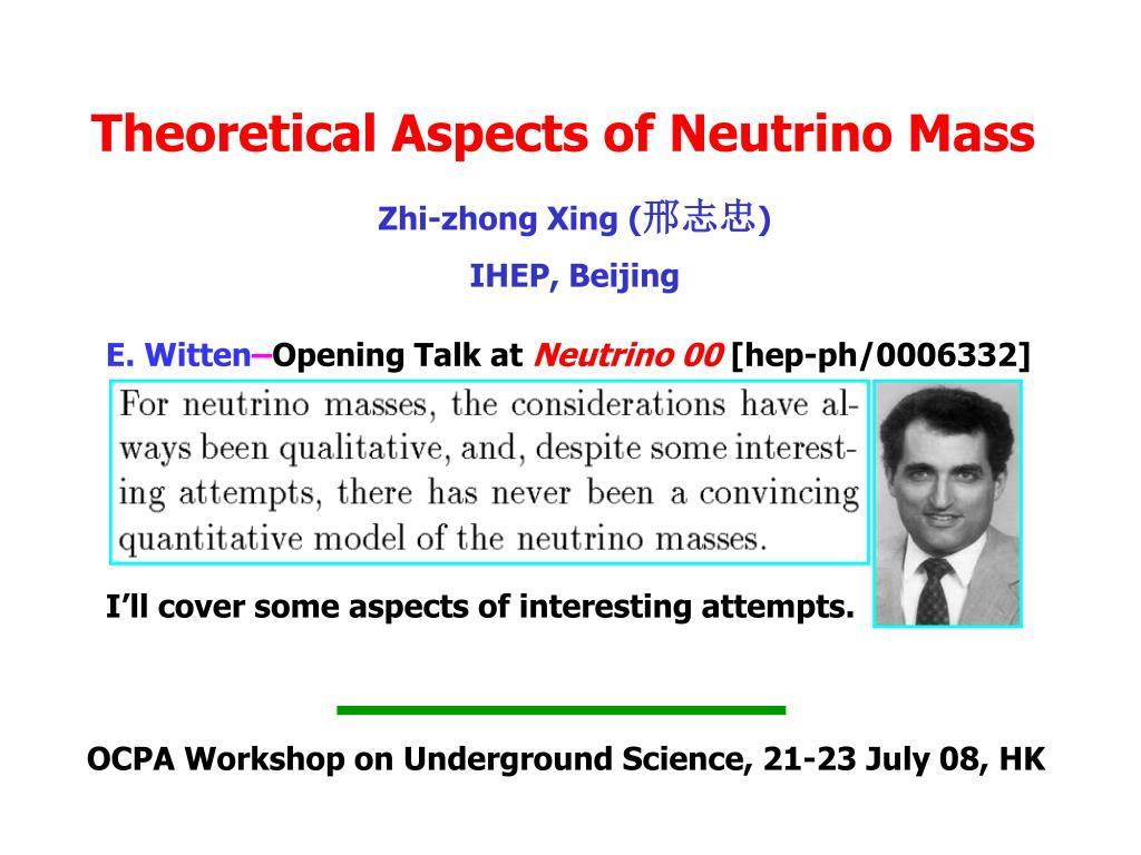 theoretical aspects of neutrino mass l.