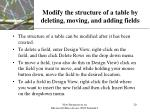 modify the structure of a table by deleting moving and adding fields