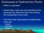 subclasses of sedimentary rocks