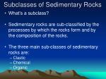 subclasses of sedimentary rocks