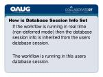 how is database session info set