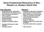 some fundamental dimensions of non western vs western world view